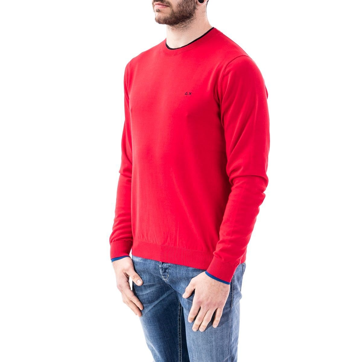 SUN 68 MEN'S K3010410 RED COTTON SWEATER