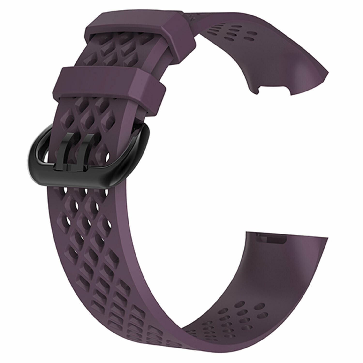 Aquarius Holes Silicone Watch Band for Fitbit Charge 3 Purple Large