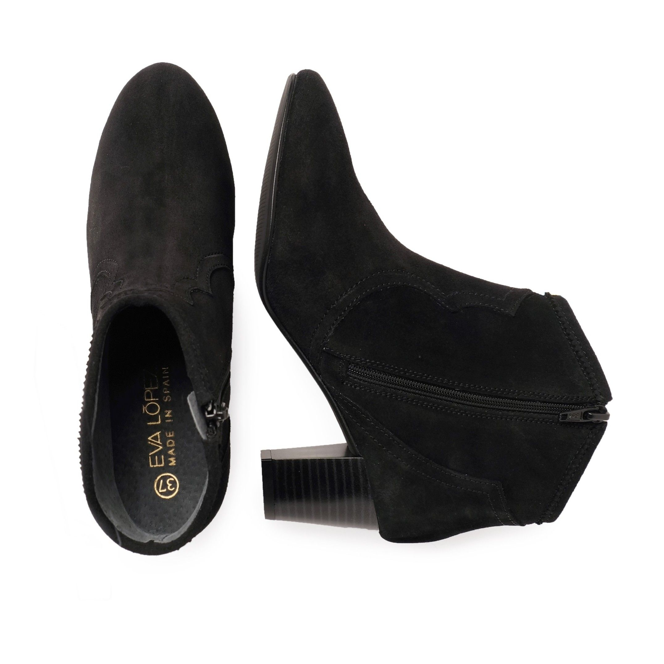 Eva López Leather Ankle Boots Heel Woman