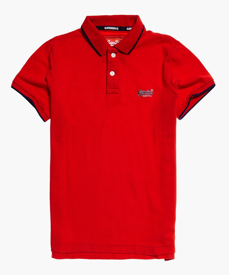 Hyper red pure cotton classic pique polo shirt