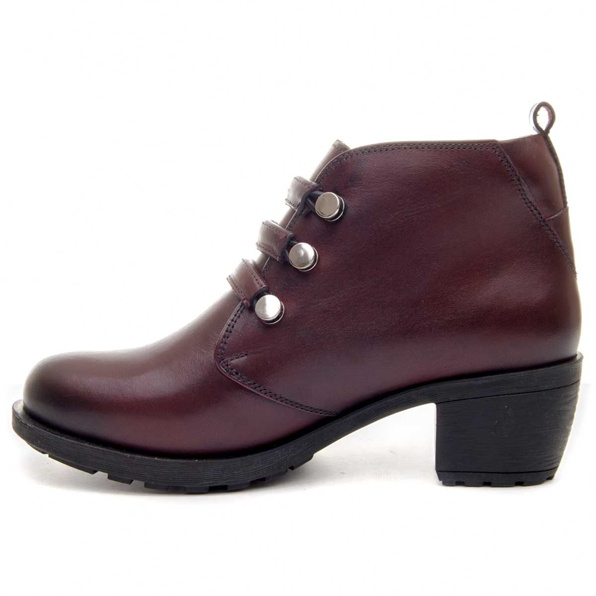 Purapiel Lace Up Ankle Boot in Bordo