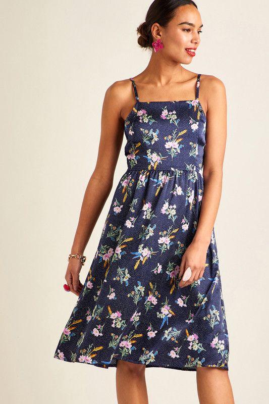 Navy Floral On Spot Strap Dress