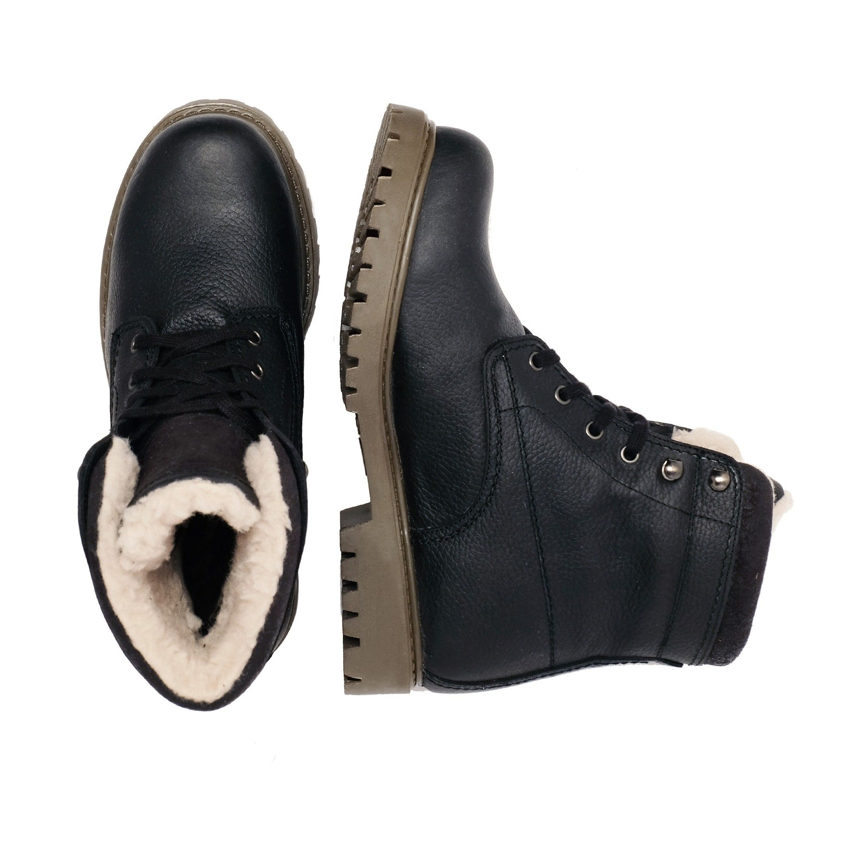 Castellanisimos Leather Boots Laces Men Winter Black