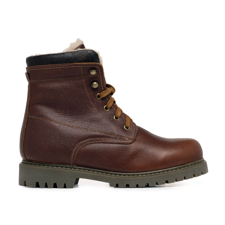 Castellanisimos Leather Boots Laces Men Winter Tobacco