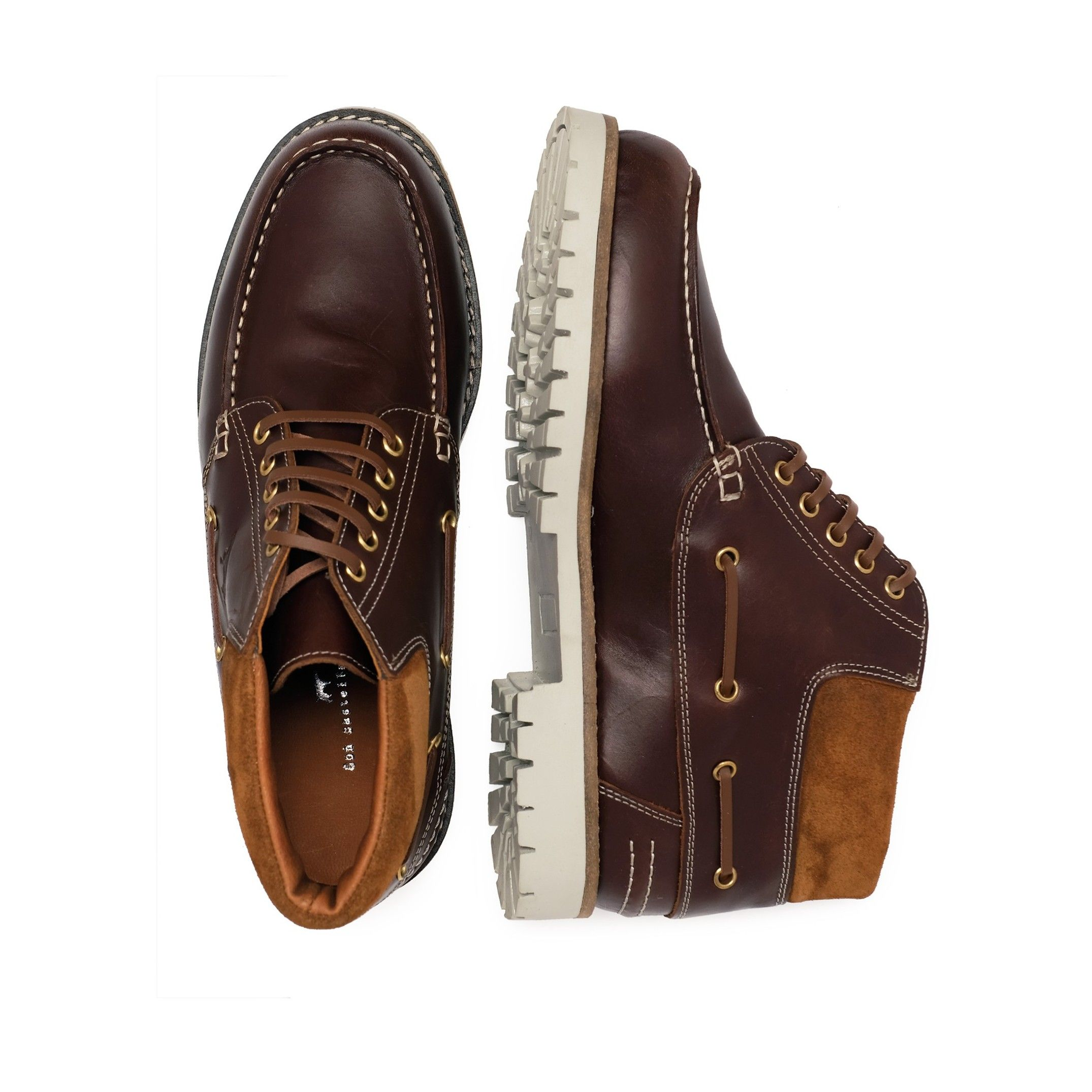 Leather Boots Laces Men's Winter Brown
