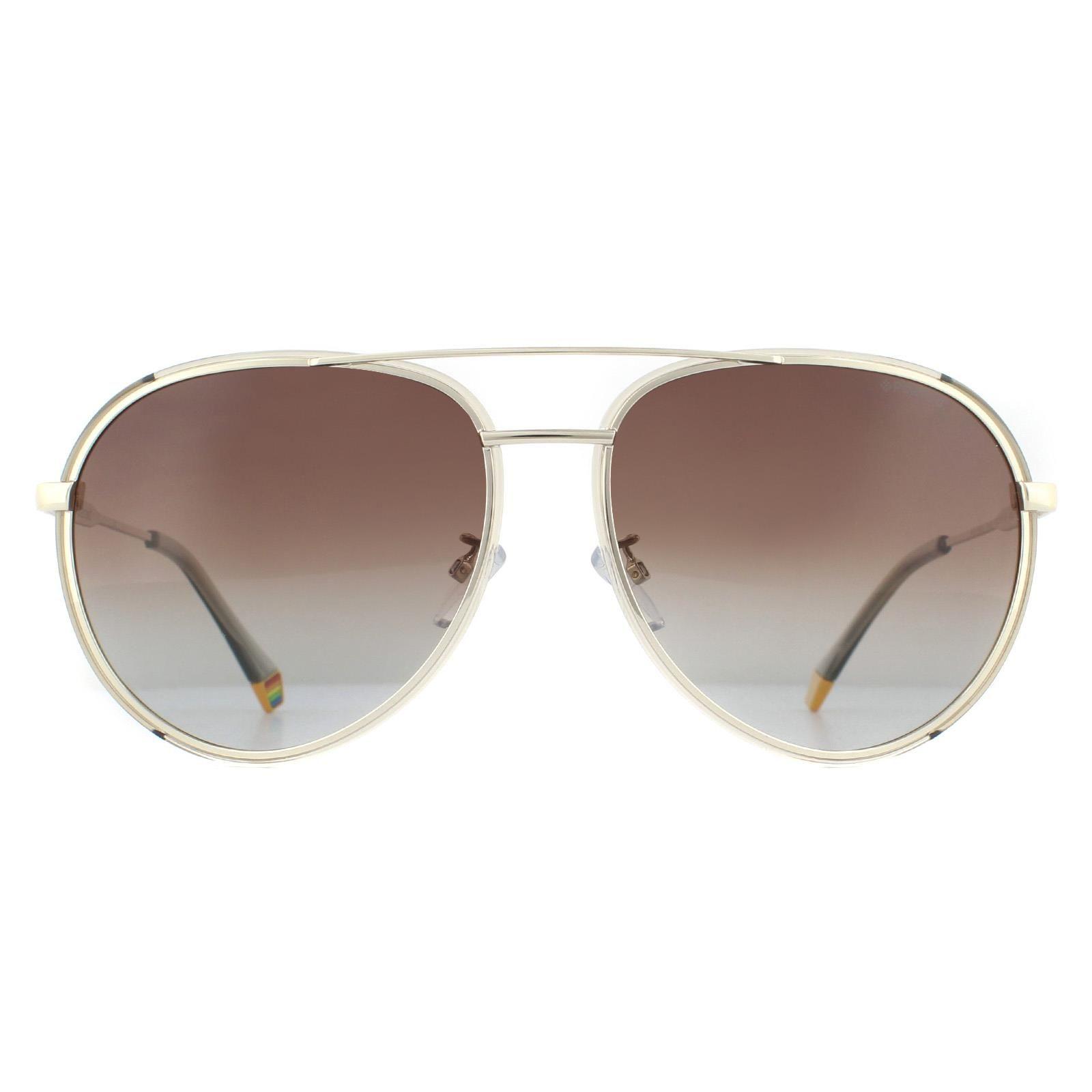 Polaroid Sunglasses PLD 6116/G/S 84E LA Gold Beige Brown Gradient Polarized