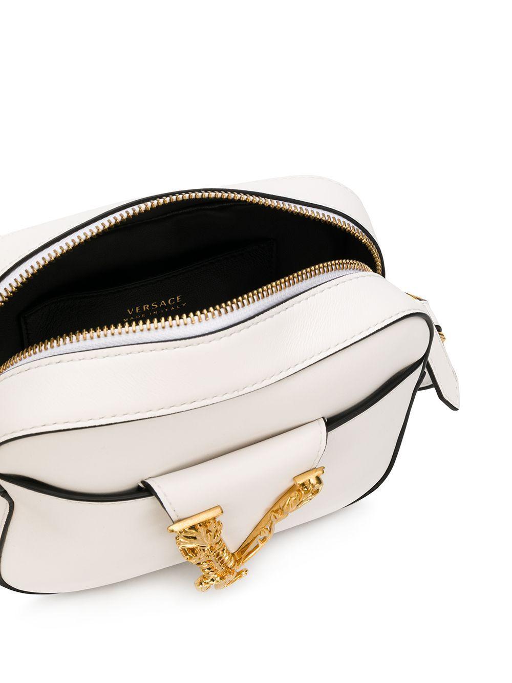 VERSACE WOMEN'S DBFH312D5VITK0AOT WHITE LEATHER SHOULDER BAG