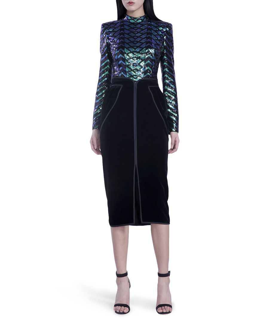 peacock shimmer long sleeve blouse
