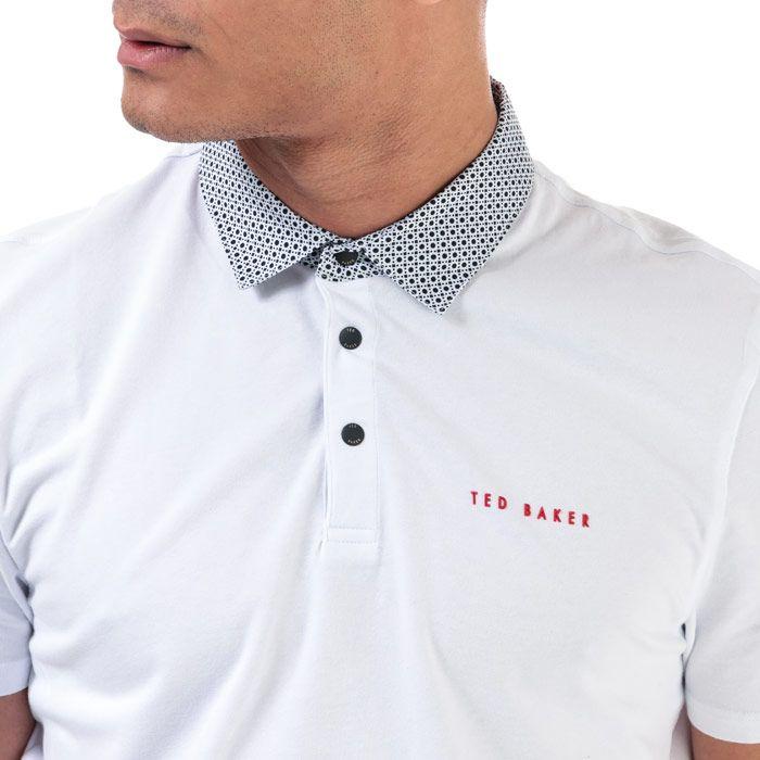 Men's Ted Baker Gripp Woven Collar Golf Polo Shirt in White