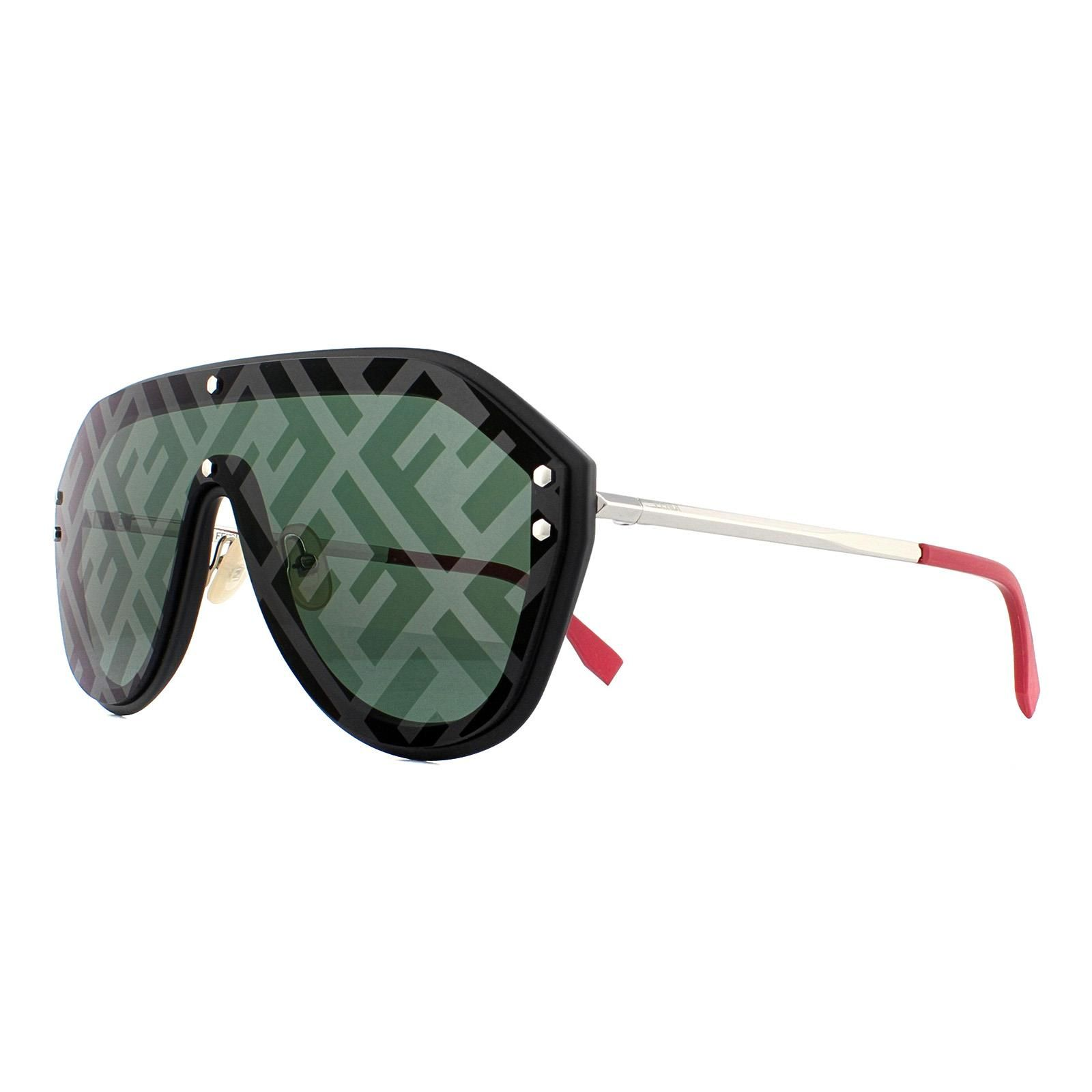 Fendi Sunglasses M0039/G/S 807 XR Black Silver and Red Grey with Monogram Mirror