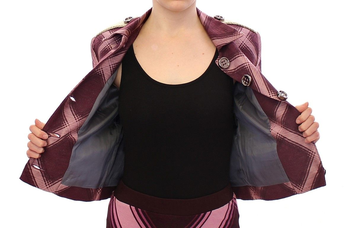 House of Holland Purple checkered blazer jacket