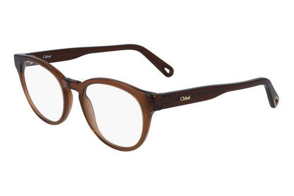Chloe Rectangular plastic Unisex Eyeglasses Brown / Clear Lens