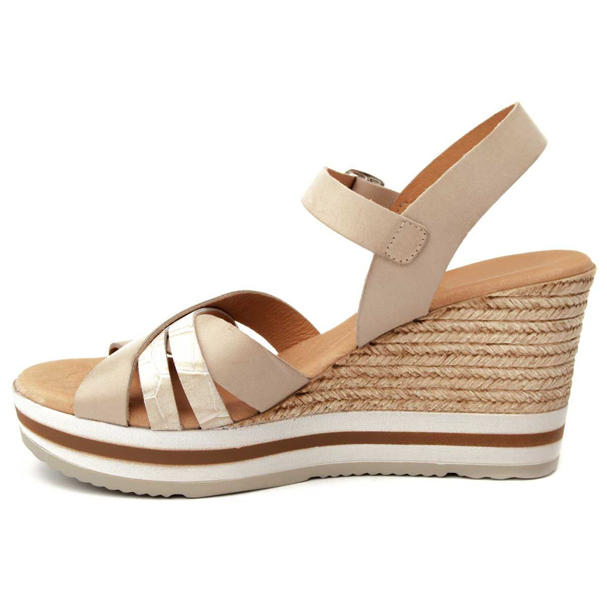 Purapiel Ankle Strap Wedge Espadrille in Taupe