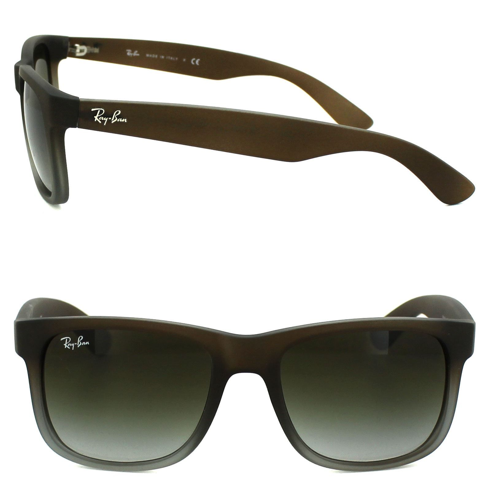 Ray-Ban Sunglasses Justin 4165 854/7Z Rubber Brown Fade Green Gradient 51mm
