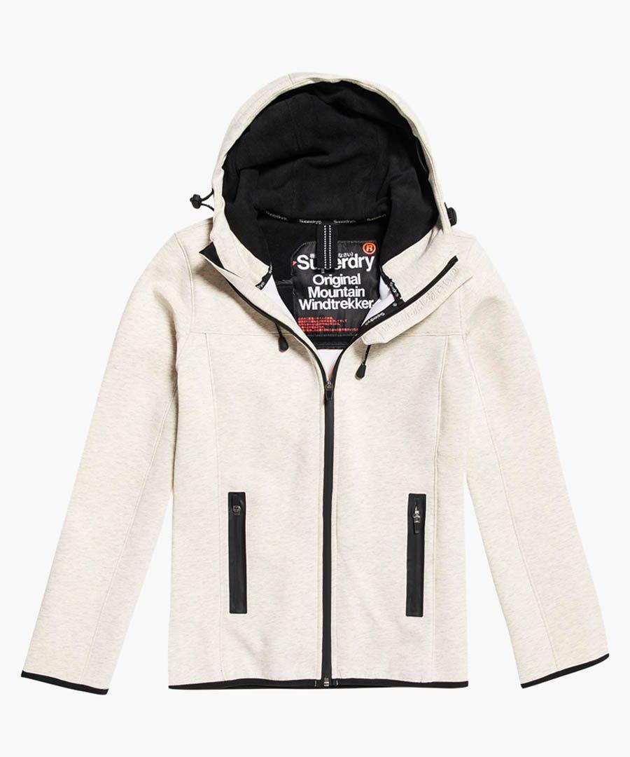 Mountain grey cotton blend hood soft windtrekker jacket