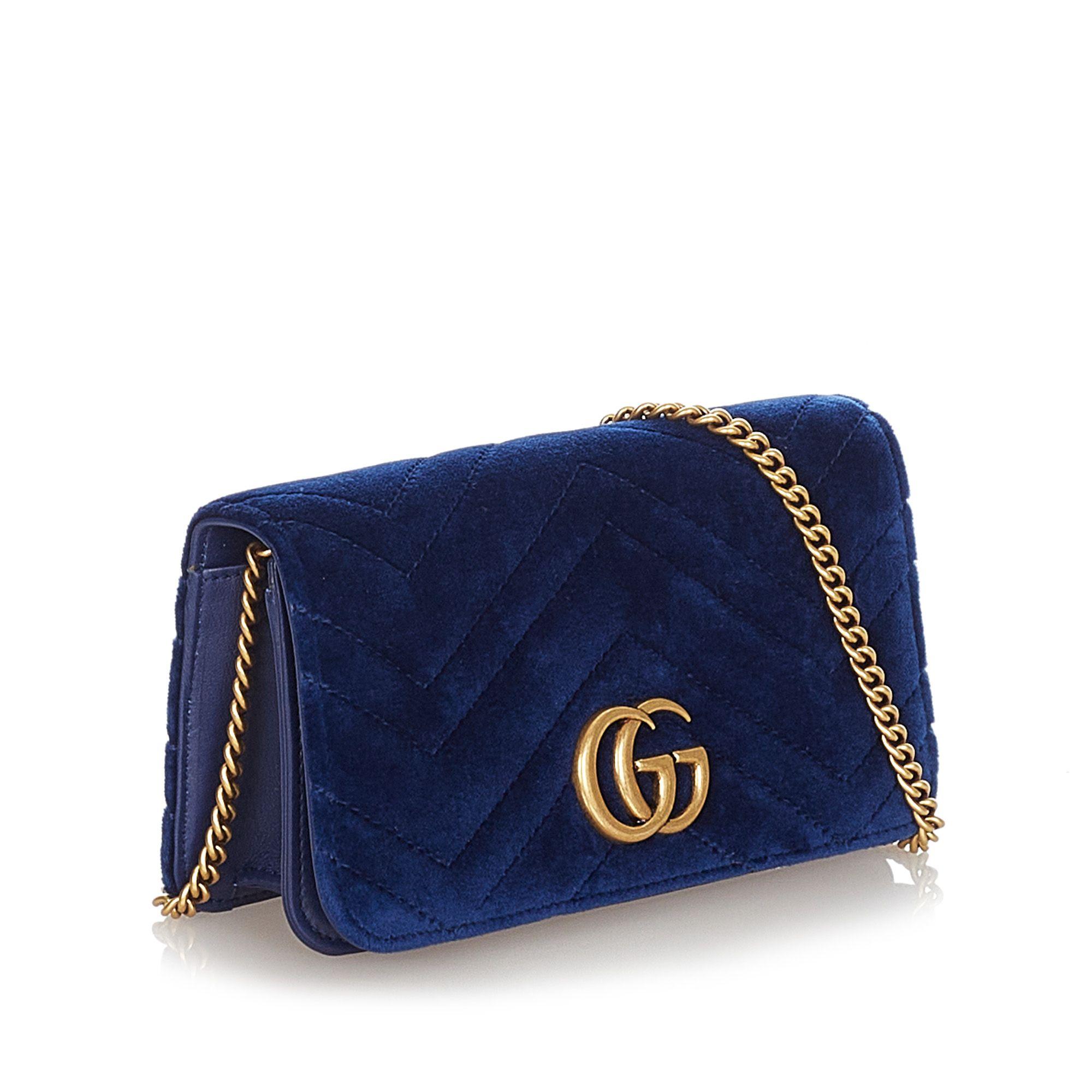 Vintage Gucci Super Mini GG Marmont Velvet Crossbody Bag Blue