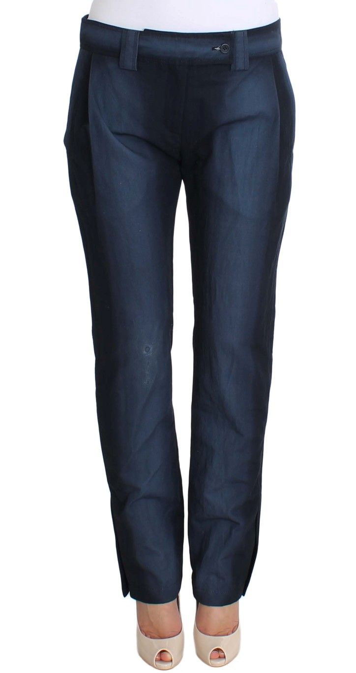 Ermanno Scervino Blue Cotton Dress Formal Pants