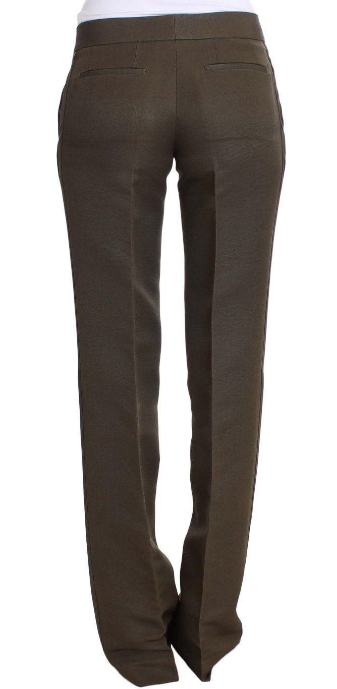 Ermanno Scervino Green Cotton Viscose Dress Formal Pants