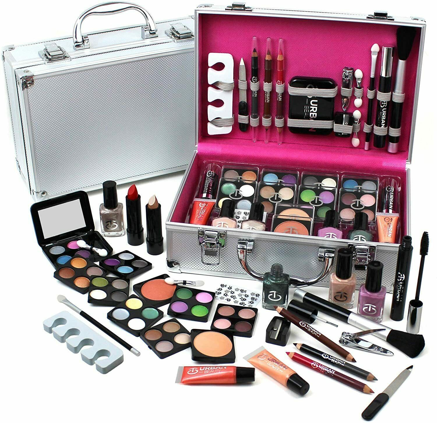 Love Urban Beauty Make up Vanity Case 60 Piece Silver