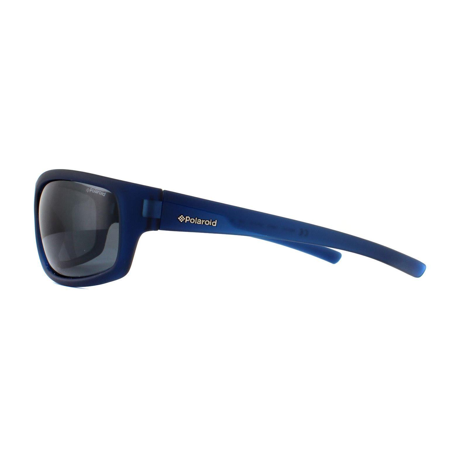 Polaroid Sport Sunglasses P8411 148 Y2 Rubber Blue Grey Polarized