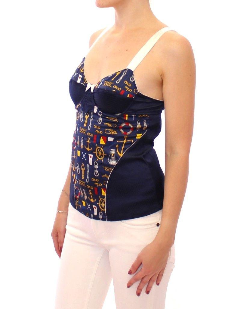 Dolce & Gabbana Blue Sailor Motive Tank Top