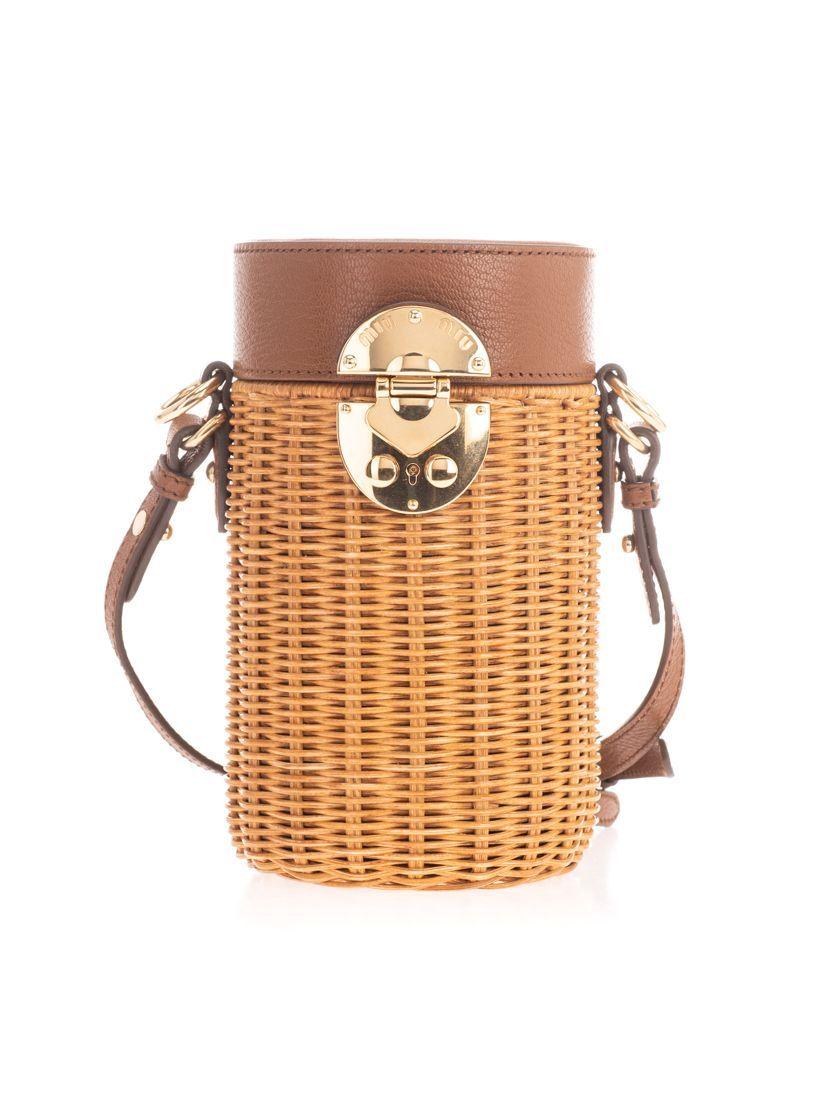 MIU MIU WOMEN'S 5BH1702D6FF0Z38 BROWN LEATHER SHOULDER BAG