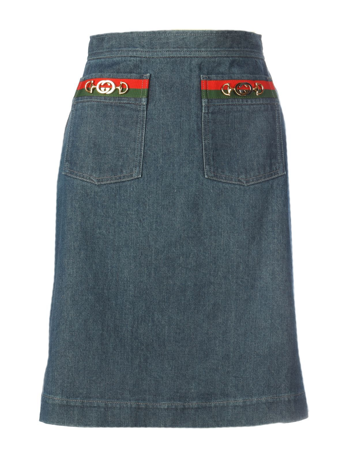 GUCCI WOMEN'S 599373XDA2Y4161 BLUE COTTON SKIRT