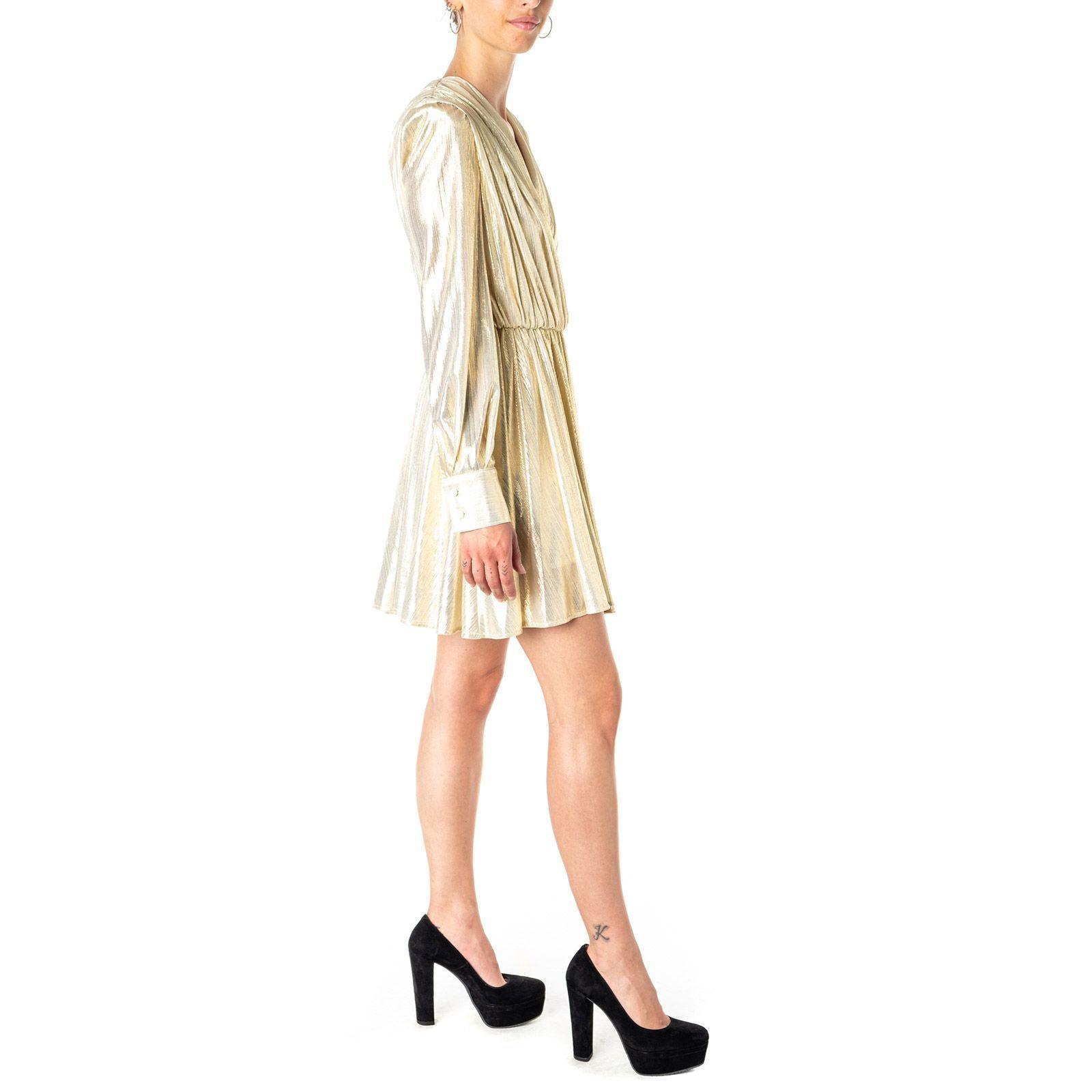 MSGM WOMEN'S 2741MDA3319561805 GOLD POLYESTER DRESS
