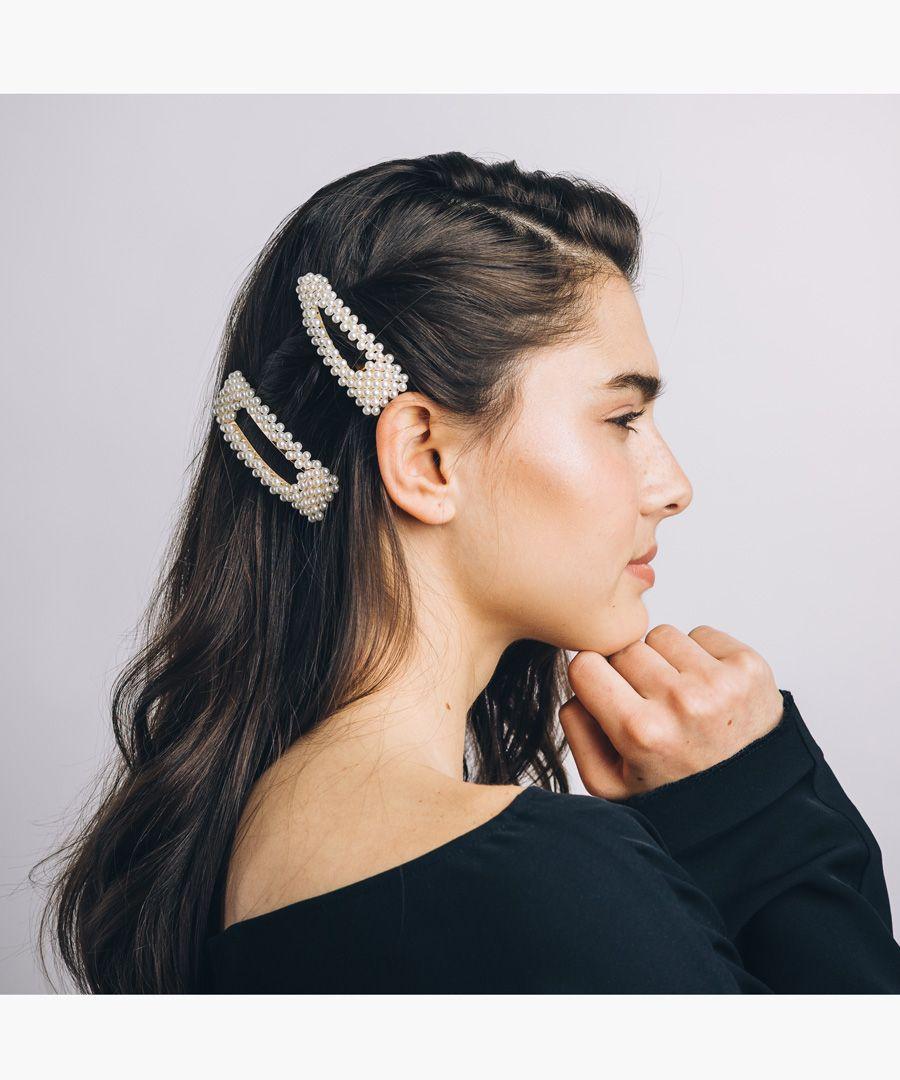 4pc faux pearl hair clips