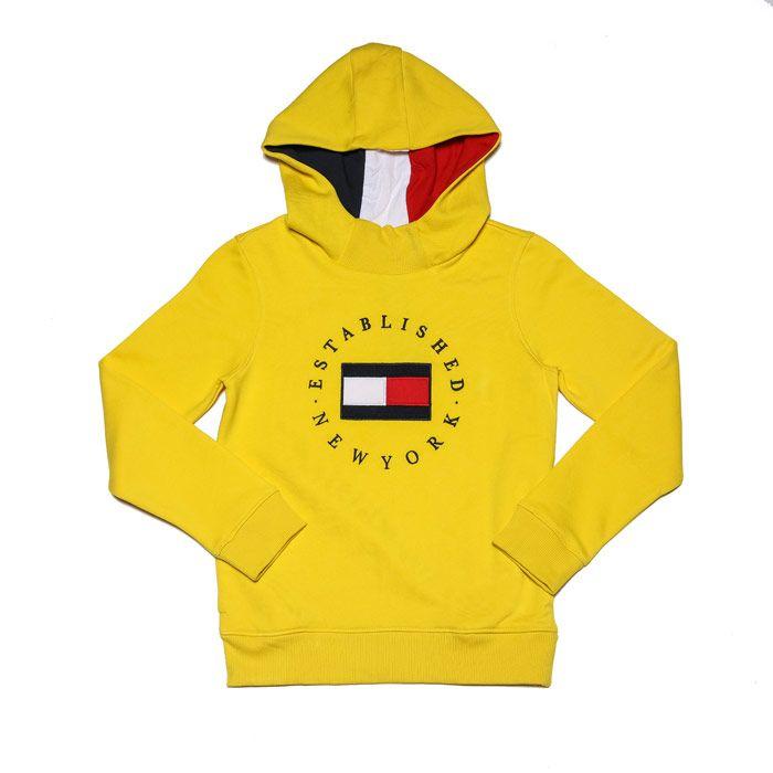 Boys' Tommy Hilfiger Junior Logo Embroidery Fleece Hoodie in Yellow
