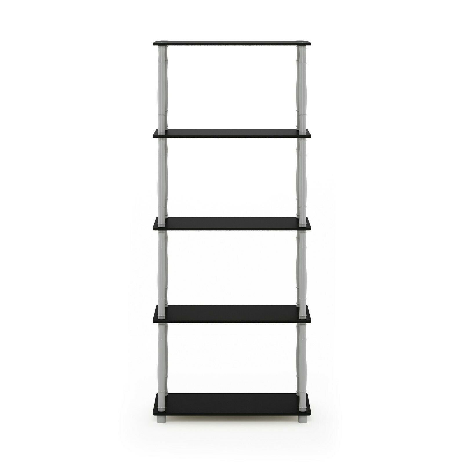 Furinno Turn-N-Tube 5-Tier Multipurpose Shelf Display Rack with Classic Tubes, Black/Grey