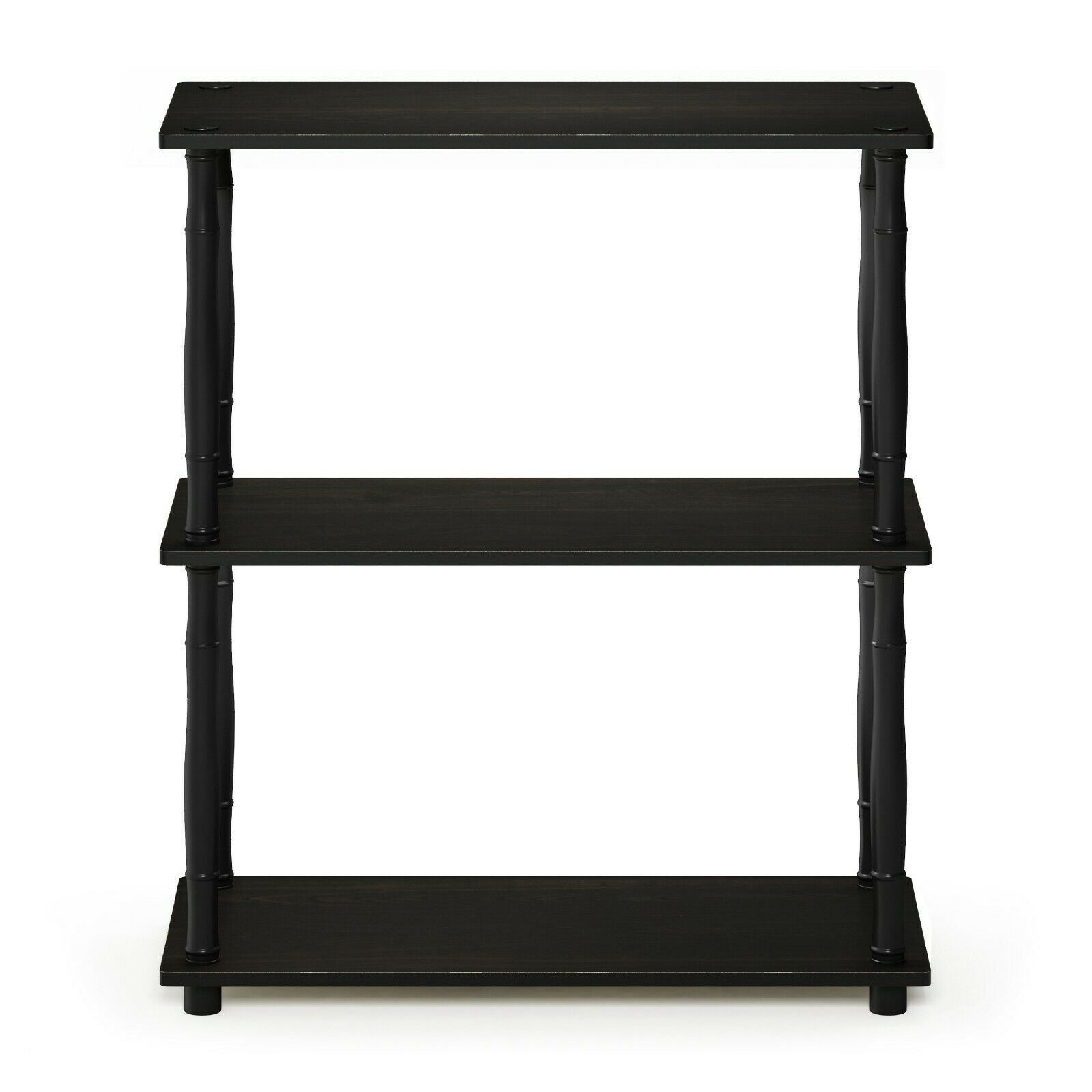 Furinno Turn-N-Tube 3-Tier Compact Multipurpose Shelf Display Rack with Classic Tube - Espresso/Black