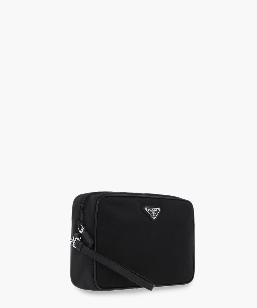 Black leather zip-up bag