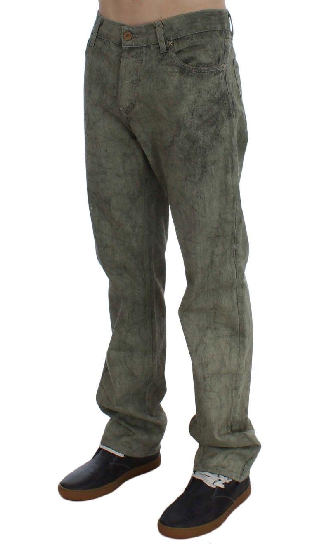 EXTE Green Cotton Regular Fit Jeans