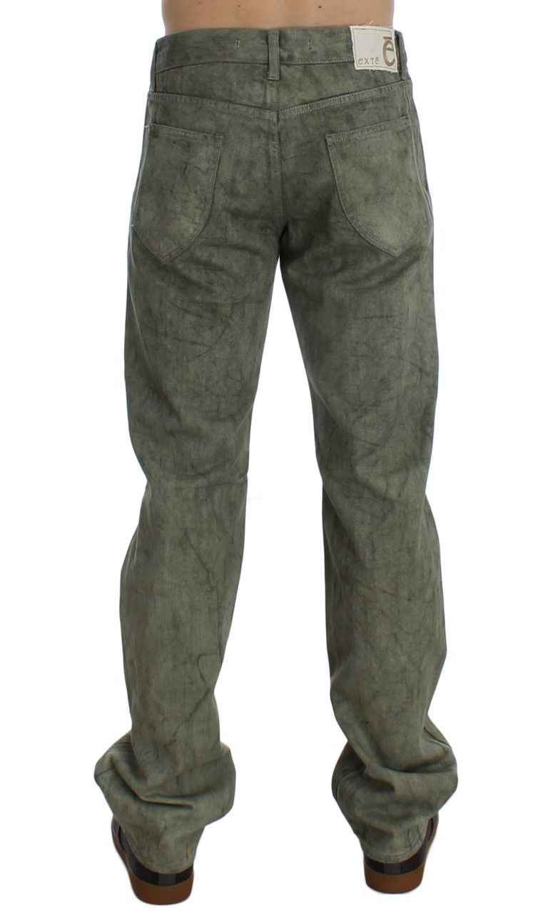 EXTE Green Cotton Regular Fit Jeans