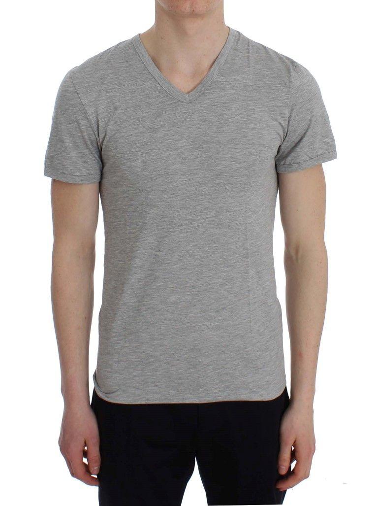 Ermanno Scervino Gray Modal Stretch V-neck Underwear T-shirt