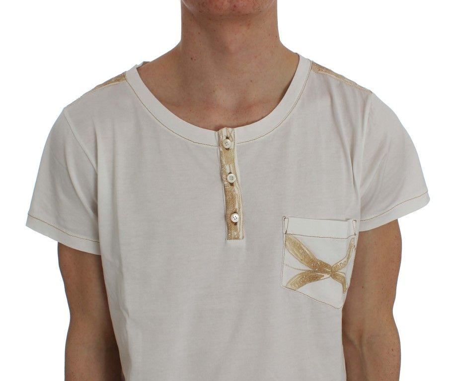 Ermanno Scervino White Cotton Henley Beachwear T-shirt
