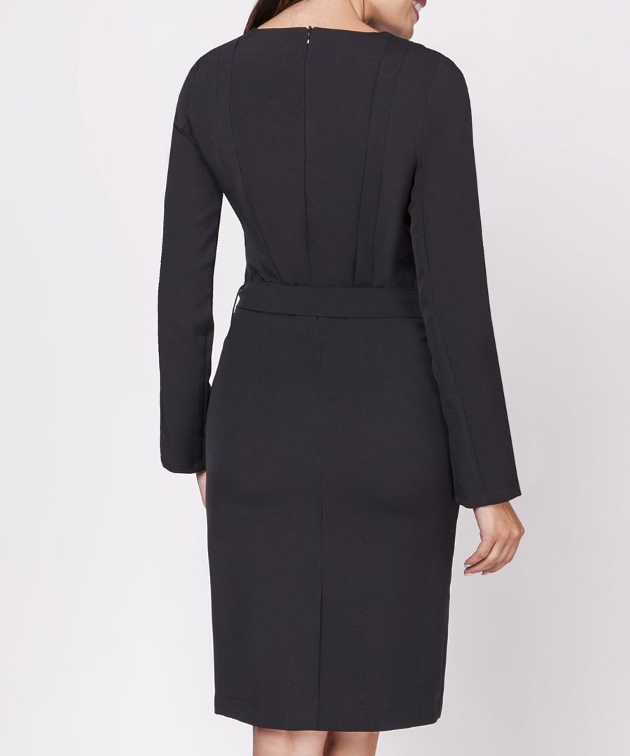 Black belt detail long sleeve dress