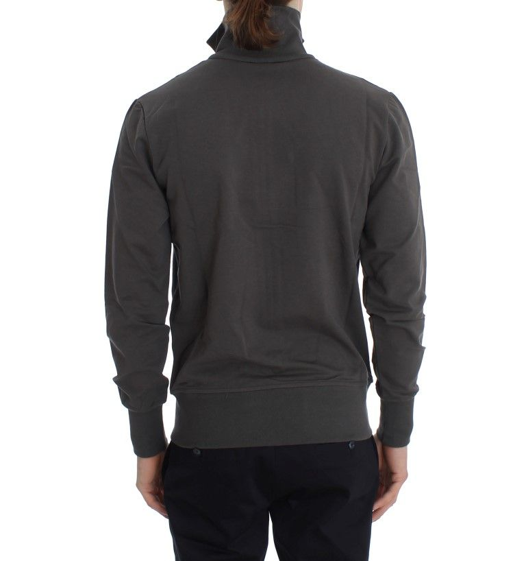 Aeronautica Militare Gray Cotton Stretch Full Zipper Sweater