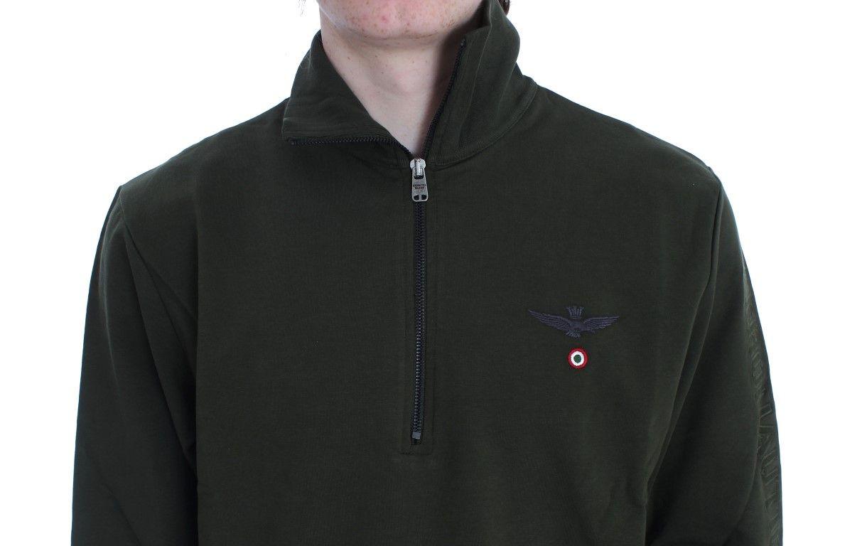 Aeronautica Militare Green Cotton Stretch Half Zipper Sweater