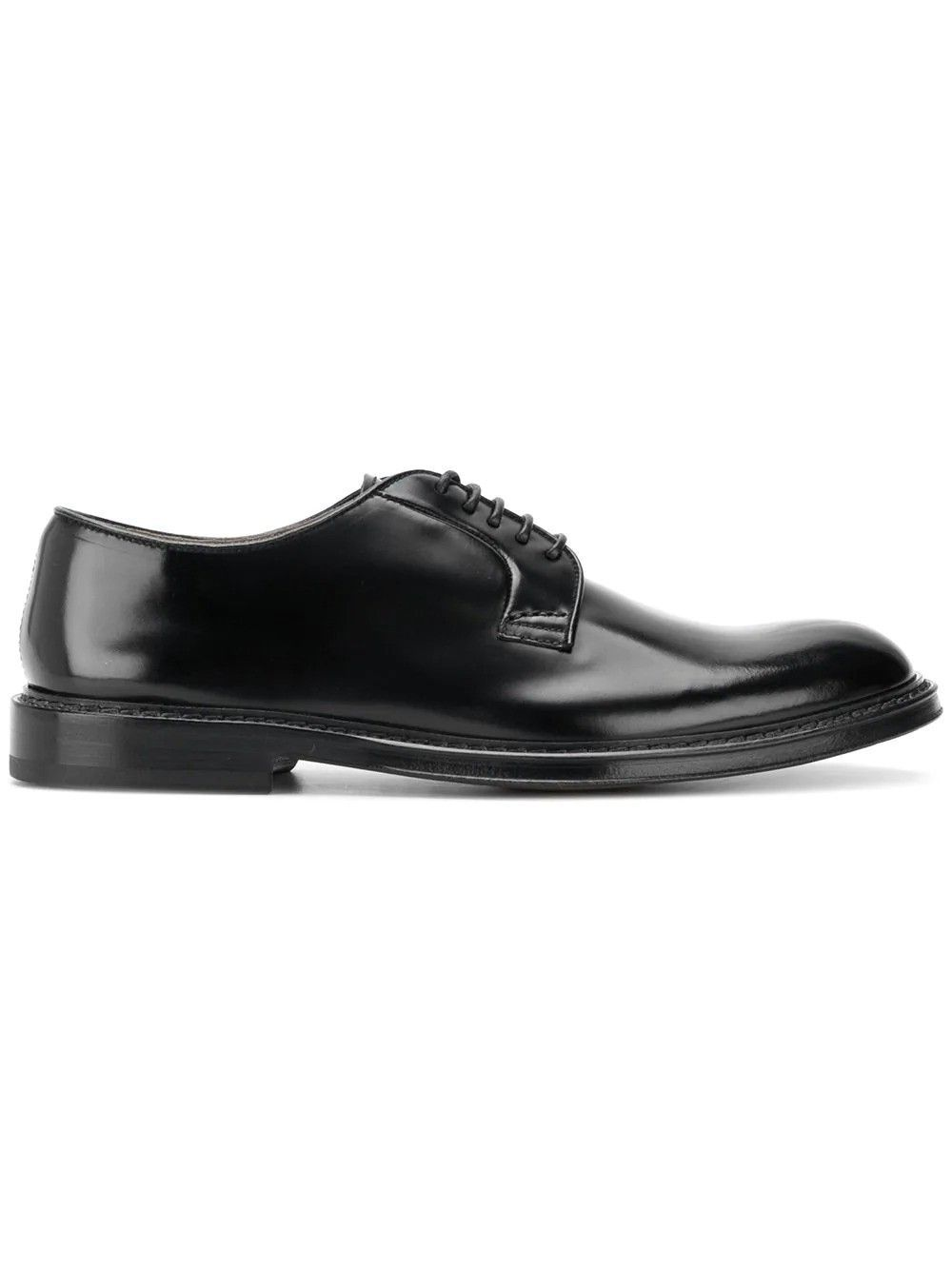DOUCAL'S MEN'S DU1385PHOEUY007NN00 BLACK LEATHER LACE-UP SHOES