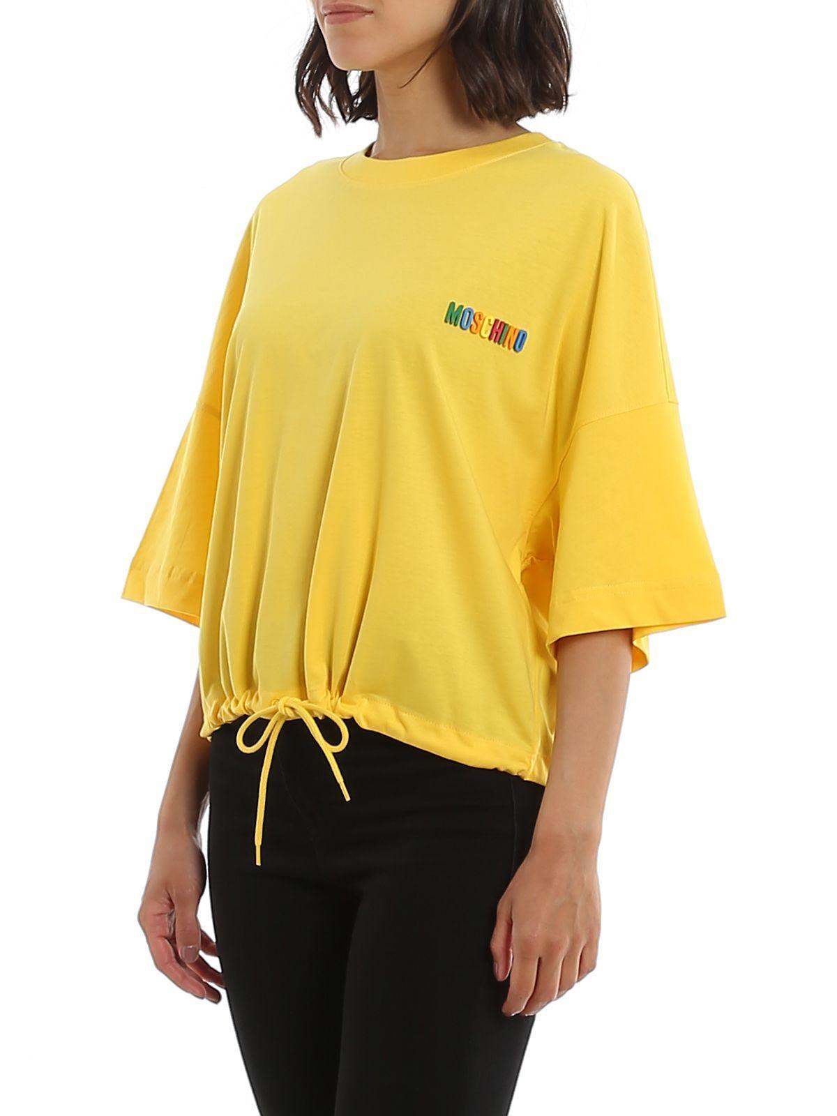 MOSCHINO WOMEN'S A070105401027 YELLOW COTTON T-SHIRT
