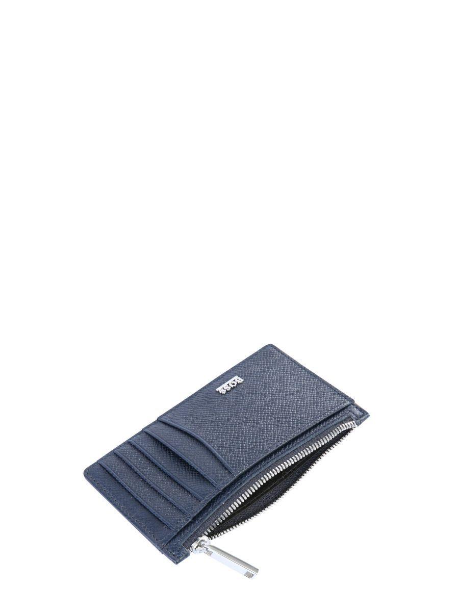 HUGO BOSS MEN'S 50326710401 BLUE LEATHER CARD HOLDER