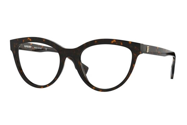 Burberry Rectangular plastic Unisex Eyeglasses Dark Havana / Clear Lens