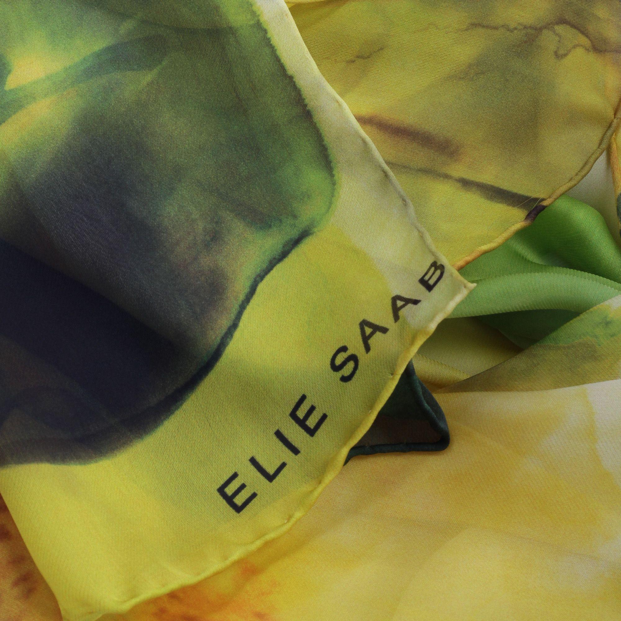 ELIE SAAB WOMEN'S SE7020SC6341 YELLOW SILK SCARF