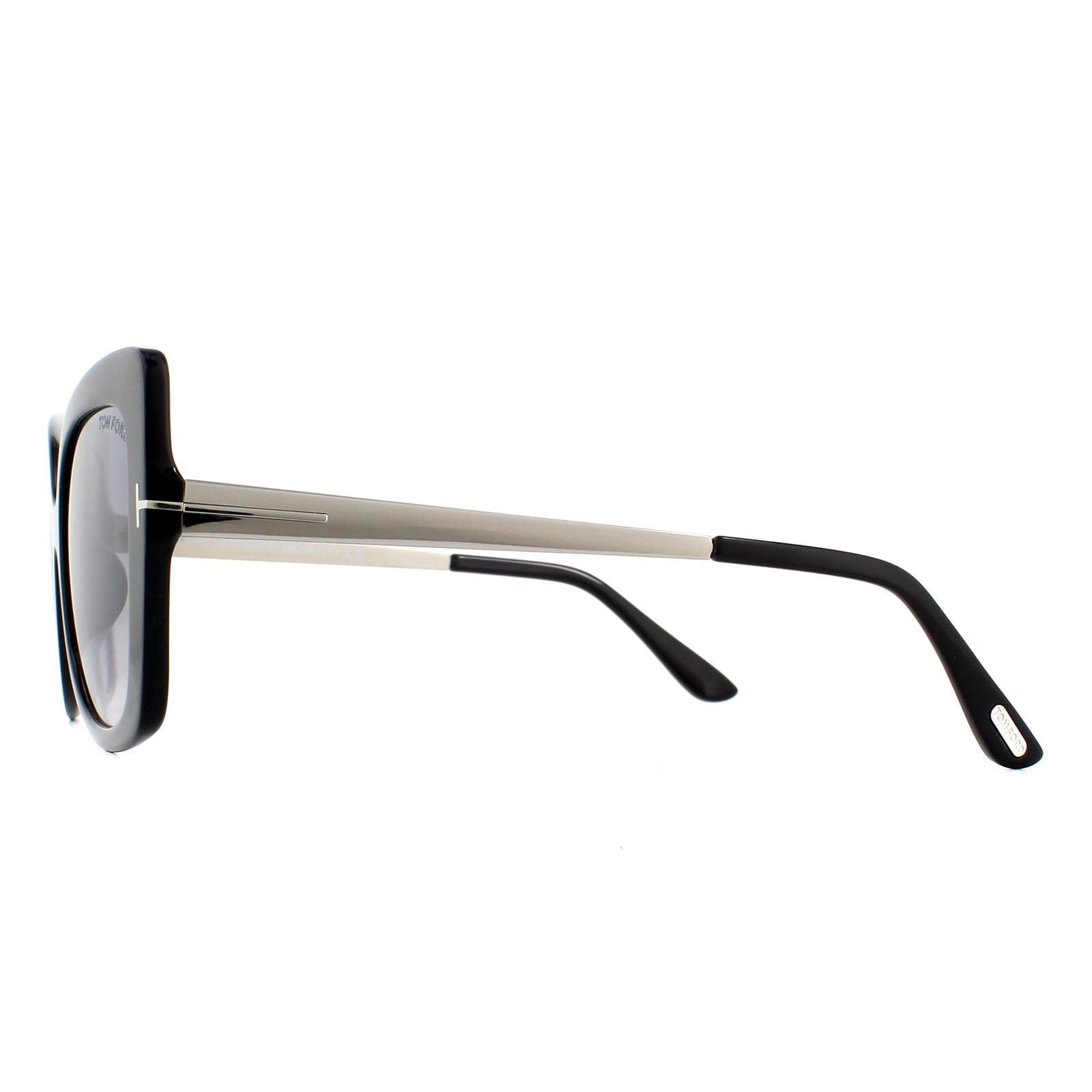Tom Ford Sunglasses Gianna FT0609 01C Black with Silver Brown with Silver Mirror