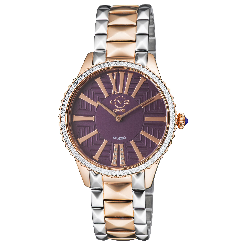 Gv2 siena women's purple dial 2 tone rg watch