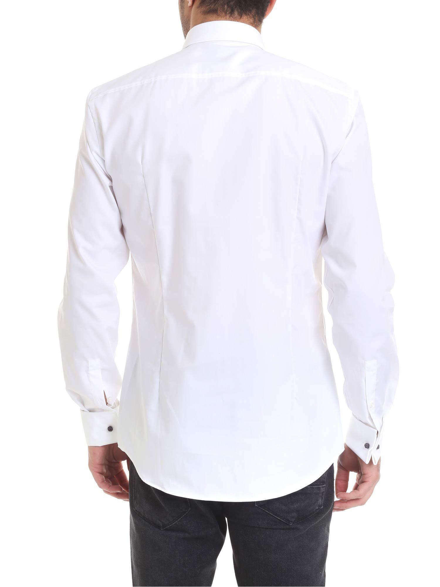 HUGO BOSS MEN'S 50328296100 WHITE COTTON SHIRT
