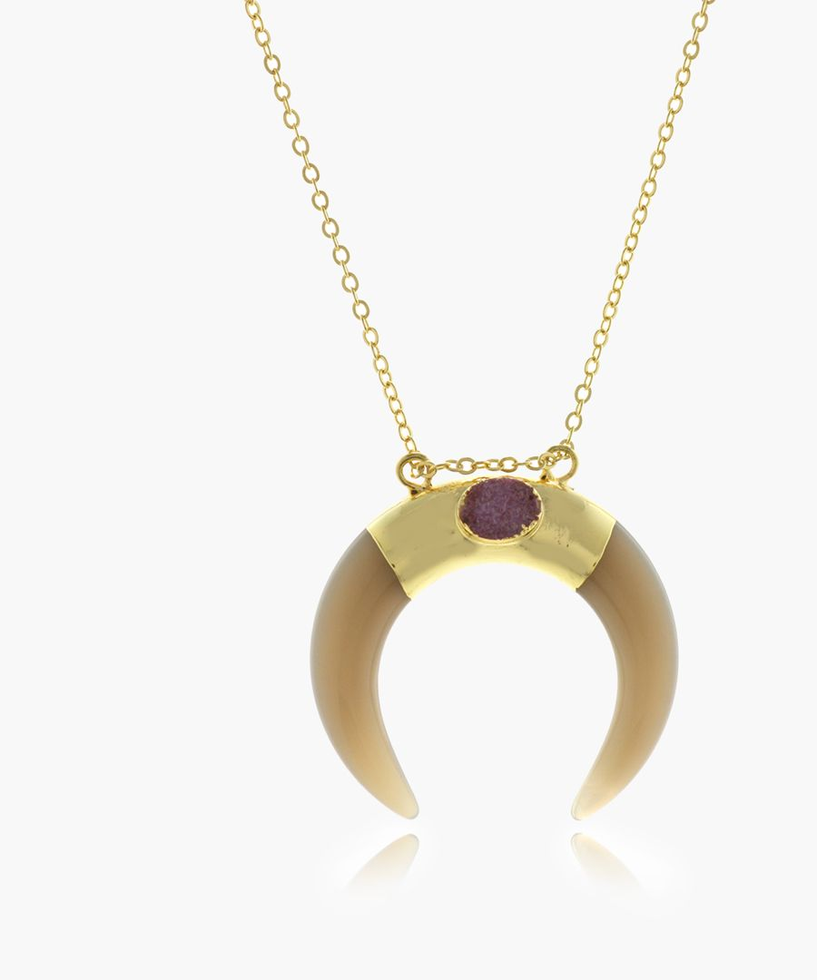 14k gold-platedand purple druzy necklace