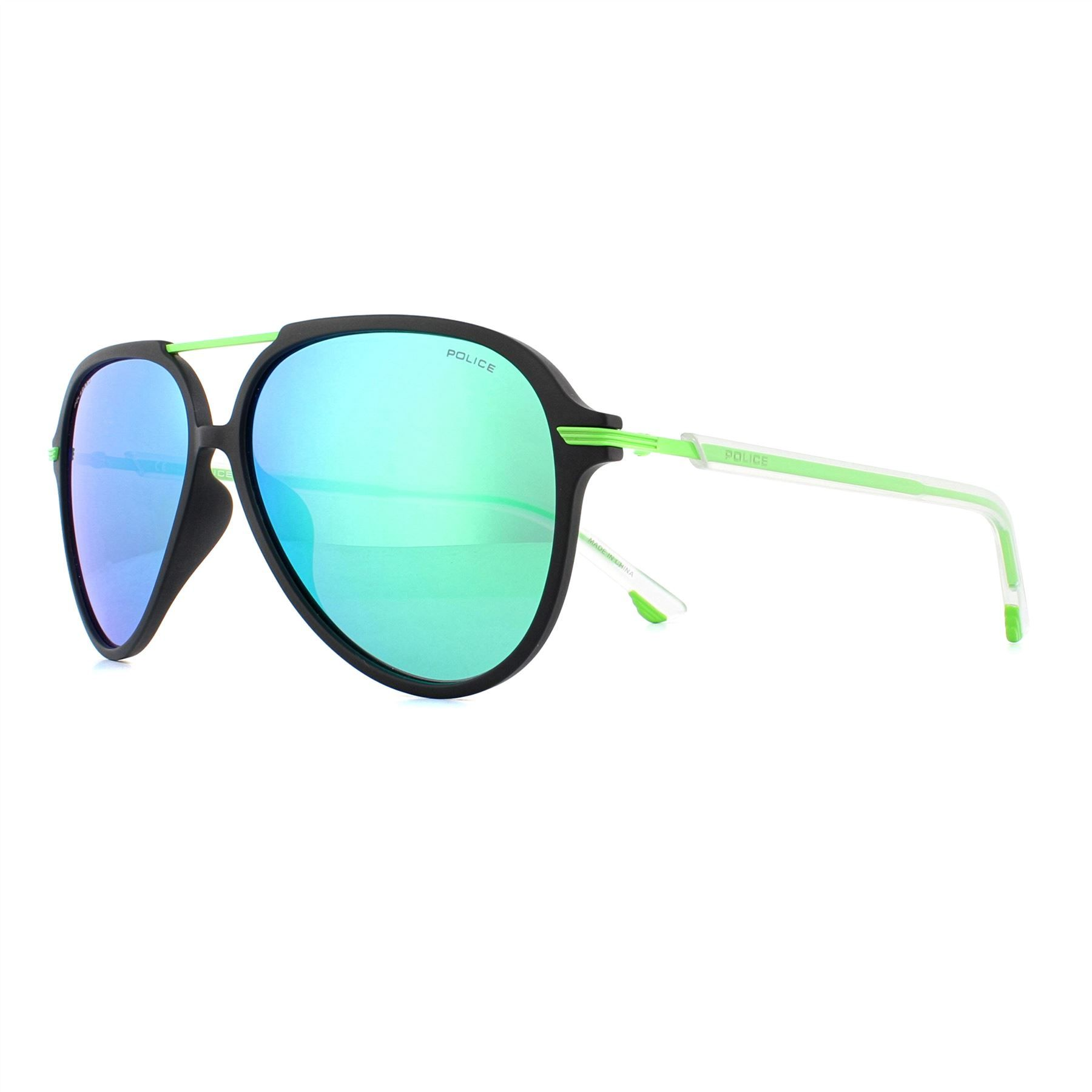 Police Sunglasses SPL582 Drop 2 U28V Matte Black Green Mirror Polarized